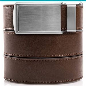 """Slide Belts Brown Leather Silver Buckle Up to 48""""W"""
